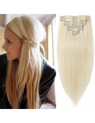 Standard Weft 18 Inch 100g Clip in 100% Real Remy Human Hair Extensions 8 Pieces 18 Clips #60 Platinum Blonde