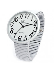 White Super Large Face Flat Stretch Band Easy to Read Watch