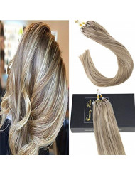 Sunny Blonde Highlight Micro Ring Human Hair Extensions 22 Inches 1g/Strand 100% Real Hair Micro Loop Extensions 50gram