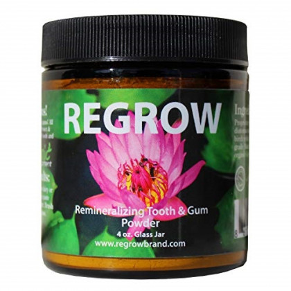 REGROW Remineralizing Tooth Powder - Stop Sensitive Teeth and Gums - Whiter Teeth Naturally - Cleans, Heals, & Protects Teeth and Gums - All Natural - 4oz Glass Jar