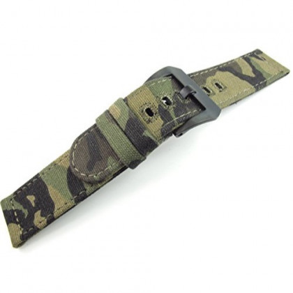 22mm Watch Strap Watchband Canvas Sports Army Military Soft Thin 2.5mm Panerai Screw in Solid Buckle Fashion Trend New JRRS7777 (Army Camouflage Brushed Black Buckle)