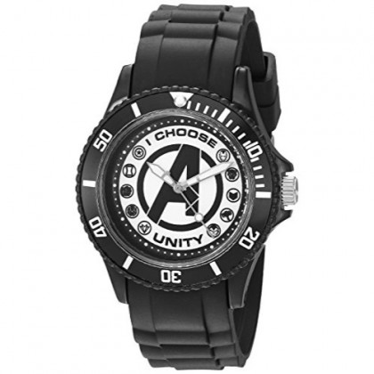 MARVEL Men's Classic Analog-Quartz Watch with Plastic Strap, Black, 20 (Model: WMA000071)