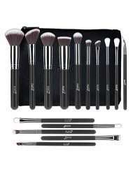 MSQ Makeup Brushes 15pcs Make Up Brush Set with Bag & Soft Synthetic Hair (Foundation Brush, Powder Brush, Eyeshadow Brush) Best for Travel & Gifts - Black