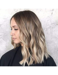 Sunny 18inch Human Hair Balayage Clip in Extensions Ombre #2 Darkest Brown Fading to #6 with #18 Ash Blonde Full Head Set Clip in Dyed Human Hair Extensions 7pcs 120g