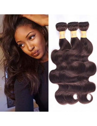 WOME 8A Peruvian Virgin Hair Body Wave 3 Bundles Remy Human Hair Weaves 100% Unprocessed Peruvian Body Wave Hair Extensions Dark Brown Color (24 24 24,#2)