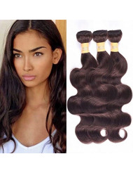 WOME 8A Peruvian Virgin Hair Body Wave 3 Bundles Remy Human Hair Weaves 100% Unprocessed Peruvian Body Wave Hair Extensions Dark Brown Color (22 22 22,#2)