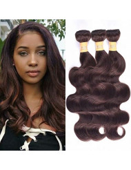 WOME 8A Peruvian Virgin Hair Body Wave 3 Bundles Remy Human Hair Weaves 100% Unprocessed Peruvian Body Wave Hair Extensions Dark Brown Color (16 16 16,#2)