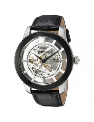Invicta Men's Vintage Stainless Steel Automatic-self-Wind Watch with Leather Calfskin Strap, Black, 22 (Model: 23637)