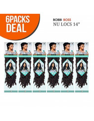 """Bobbi Boss Synthetic Hair Crochet Braids African Roots Braid Collection Nu Locs 14"""" (6-PACK, 1B)"""