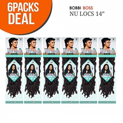 """Bobbi Boss Synthetic Hair Crochet Braids African Roots Braid Collection Nu Locs 14"""" (6-PACK, 1)"""