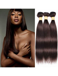 WOME Dark Brown Human Hair Bundles 8A Silky Straight Hair Peruvian 100% Unprocessed Remy Human Hair Weaves Extensions(20 22 24 inch, Color #2)