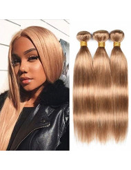 """WOME Peruvian Straight Hair 3 Bundles 100% Unprocessed Virgin Human Hair Wefts Hair Extensions Deal with Mixed Lengths (18""""20""""22"""", Honey Blonde 27#)"""