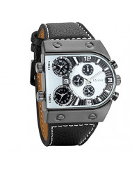 Avaner Mens Unique Analog Quartz Oversize Dial Wrist Watch 3 Time Zone Display Military Army PU Leather Strap Sport Watch White