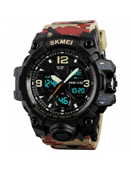Super Cool Outdoor Sports Led Digital Watch S SHOCK Men Military Army Watch 164FT 50M Water Resistant (Camouflage Red)