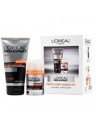 L'Oreal Paris Men Expert Anti-Aging Set including Facial Cleanser with Charcoal and Anti-Wrinkle & Firming Face Moisturizer with Pro-Retinol , 1 kit