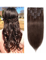 Standard Weft 22 Inch 110g Clip in 100% Real Remy Human Hair Extensions 8 Pieces 18 Clips #4 Medium Brown