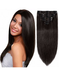 Standard Weft 20 Inch 105g Clip in 100% Real Remy Human Hair Extensions 8 Pieces 18 Clips #1B Natural Black