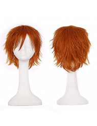 Short Fluffy Anime Wigs for Women Men 21 colors Spiky Unisex Comic Wigs with Oblique Bangs for Halloween Cosplay Costume Party(Dark Orange)