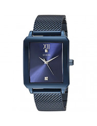 GUESS  Rectangular Stainless Steel Blue Ionic Plated Mesh Bracelet Watch Genuine Diamond Dial. Color: Iconic Blue (Model: U1074G2)