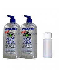 Fruit Of The Earth Aloe Vera 100% Gel, Crystal Clear - 24oz 2 Pack with 1 oz Empty Travel Size Bottle