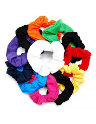 "Luxxii (12 Pack) 4"" Fancy Soft Cotton Colorful Scrunchies Ponytail Holder Elastic Hair Bands (Plain Color)"