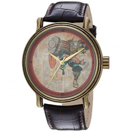 MARVEL Men's Comics Analog-Quartz Watch with Leather-Synthetic Strap, Brown, 22 (Model: WMA000196)