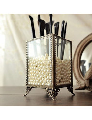 PuTwo Makeup Organizer Vintage 4 Sections Makeup Brushes Holder Make Up Storage with Free White Pearls