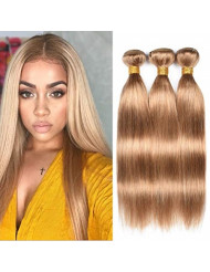 """WOME Peruvian Straight Hair 3 Bundles 100% Unprocessed Virgin Human Hair Wefts Hair Extensions Deal with Mixed Lengths (20""""22""""24"""", Honey Blonde 27#)"""