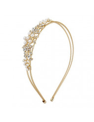 Lux Accessories Gold Tone Crystal Rhinestone Faux Pearl Floral Coil Headband