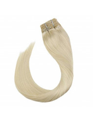 Ugeat Clip in Hair Extensions Human Hair 7PCS 120Gram Hair Extension Clip in Human Hair Remy Platinum Blonde 18 Inch Remy Human Hair Clip in Extensions