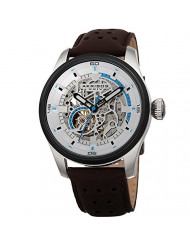 Father's Day Gift - Akribos Automatic Mechanical Skeleton Watch - Crocodile Embossed Genuine Leather Strap - Automatic Mechanical Skeletonized Wristwatch See Through Dial - AK1020 (Silver/Brown)