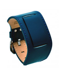 REV ITAL2DBS Casual Military Genuine Leather Cuff Replacement Band - 18 mm to 24 mm Lug Width Watches (18mm-20mm Watch, Blue)