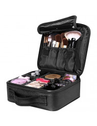 Travel Makeup Box, Luxspire Cosmetic Makeup Case Professional Makeup Train Case Portable Cosmetic Case Makeup Bag Organizer with Adjustable Dividers for Makeup Brushes - Black