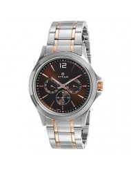 Titan Workwear Men's Chronograph Watch | Quartz, Water Resistant, Stainless Steel Band | Silver Band and Brown Dial