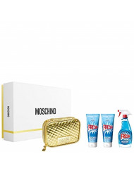 Moschino Fresh Couture for Women 4 Piece Gift Set (3.4 Eau De Toilette Spray / 3.4 Body Lotion /3.4 Body &Shower Gel/Golden Toiletry Bag)