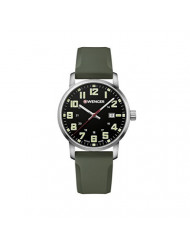 Wenger Men's Sport Stainless Steel Swiss-Quartz Watch with Silicone Strap, Green, 22 (Model: 01.1641.112)
