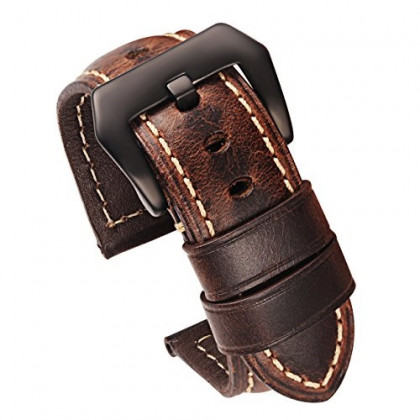 Carty Mens Watch Strap Oil Wax Calfskin Handmade Leather Watch Band 22mm Coffee-Brown Brushed Black Buckle
