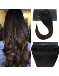 "Sunny 16inch Halo Hair Extensions Real Human Hair Color #1B Natural Black fading to #4 Dark Brown Mircale Wire Hair Extension 10"" Width 80g Per Set"