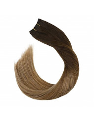 Ugeat 18inch Balayage Ombre Human Hair Weaving Dark Brown Fading to Golden Blonde Double Weft Real Hair Bundles 100Gram/Bundle