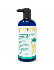 PURA D'OR Smoothing Therapy Conditioner for Anti-Frizz Straightens & Smoothes Dull, Dry, Brittle Hair, Infused with Natural & Organic Ingredients, for Men and Women, 16 Fl Oz