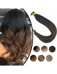 Sunny 18inch 1g/s Remy Itip Human Hair Extensions Ombre Color Natural Black to Dark Brown Brazilian I Tip Fusion Hair Extensions 50g Per Package
