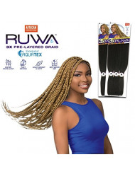 """[MULTI PACKS DEAL] SENSATIONNEL AFRICAN COLLECTION KANEKALON AQUATEX PRE-LAYERED SYNTHETIC BRAID 48"""" / WATER-REPELLENT - 3XRUWA (2PACKS, 1B)"""