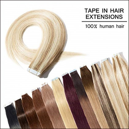 Tape in Human Hair Extension 100g 20 inch Ash Blonde Mixed Bleach Blonde 40pcs Bonding Double Sided Tape Professional Long Thick Straight Seamless Skin Weft Hair (20'' #18&613) + 20pcs Free Tapes