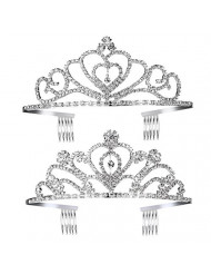 Pixnor Princess Tiara Crown with Comb Wedding Party Children Flower Girl Heart-Shape Crown for Kids Baby Birthday Party Decorations, 2Pack