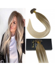 Sunny Balayage U Tip Hair Extensions Human Hair Color #14 Honey Blonde Mixed #60 Platinum Blonde Hair Extensions Hot Fusion Remy Human Hair Extensions,50g/pack,20inch