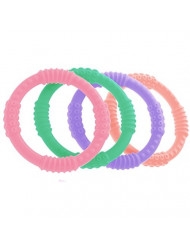 Teether Rings - (4 Pack) Silicone Sensory Teething Rings - Fun, Colorful and BPA-Free Teething Toys - Soothing Pain Relief and Drool Proof Teether Ring (Multicolor)