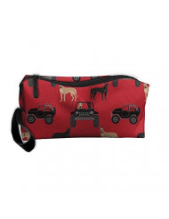 Travel Makeup Great Dane In Jeeps Cute Dogs Black And Red Cosmetic Pouch Makeup Travel Bag Purse Holiday Gift For Women Or Girls