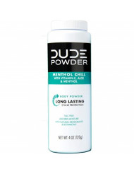 DUDE Body Powder, Menthol Chill 4 Ounce Bottle Natural Deodorizers Cooling Menthol & Aloe, Talc Free Formula, Corn-Starch Based Daily Post-Shower Deodorizing Powder for Men