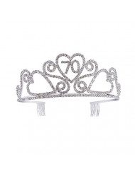 Frcolor Birthday Crowns Rhinestone Birthday Party Tiara with Hair Combs for Mother's 70th Birthday Party