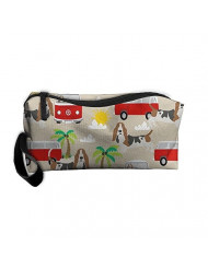 Travel Makeup Basset Hound Dog Beach Bus Hippie Bus Palm Trees Cosmetic Pouch Makeup Travel Bag Purse Holiday Gift For Women Or Girls